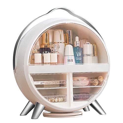 Organizzatore di trucco rotondo, stoccaggio di organizzatore di trucco girevole con luce a led, scatola di stoccaggio portatile cosmetico per trucco e grandi regali da donna 34,5 * 17 * 37 cm bianco