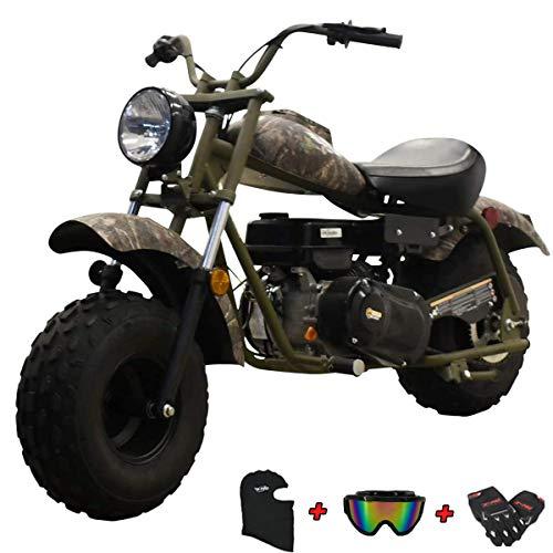"X-PRO Supersized 200CC Youth Mini Bike Gas Powered Mini Trail Bike Scooter Mini Motorcyle,Big 19"" Tires! Big Headlight! (Camo)"