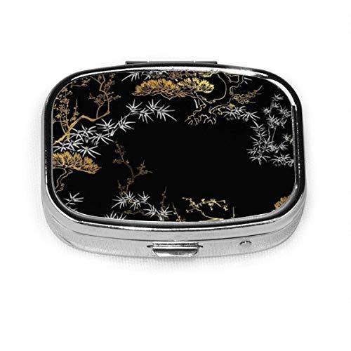 Gold Im Japanischen Stil, caja de pastillas cuadrada plateada de moda personalizada, soporte para tableta, estuche organizador de cartera para bolsillo o