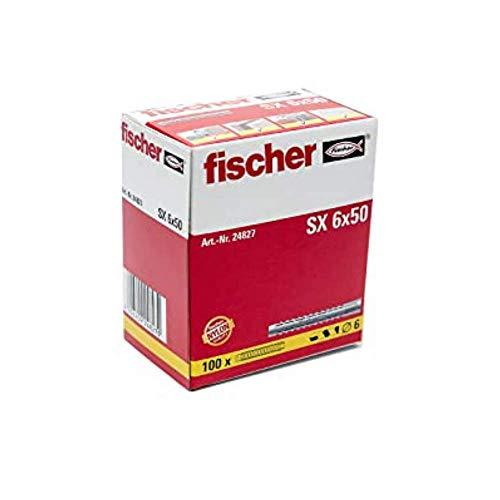 Fischer 24827 Taco SX 6x50 L (Caja de 100 Ud.), 024827, Gris