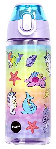 Fringoo Butelka na wodę dla dzieci ze słomką, w 100% szczelna, nie zawiera BPA, 600 ml butelka do szkoły, przedszkola, podróżowania, dzieci, Narwhal i konik morski, 600 ml