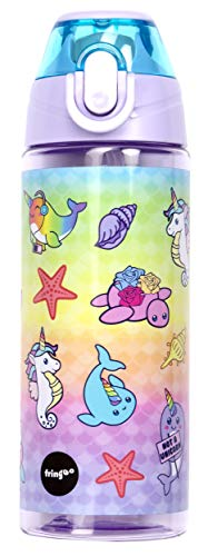 Fringoo - Sturdy And Practical Kids Water Bottle with Straw | Leakproof, Eco Friendly & BPA Free | Travel Bottle Or Sport Water Bottle For Children - 600ml - Sea Creatures