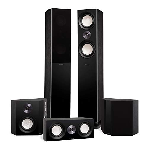 Fluance Reference Surround Sound Home Theater 5.0 Channel Speaker System Including 3-Way Floorstanding Towers, Center Channel and Bipolar Speakers - Black Ash (X850BB)