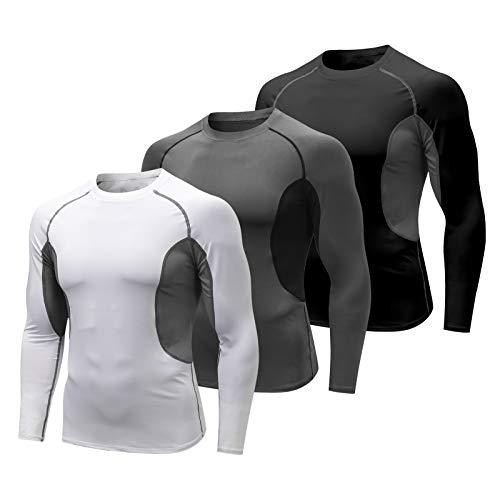 MEETYOO Maglia Compressione Uomo, Maglietta Maniche Lunghe T Shirt Sportiva Maglie per Corsa Gym Fitness