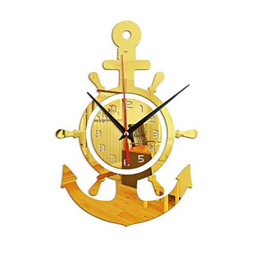 Aoten Acrylic Anchor Clock 3D Wall Clock Stickers Mediterranean Style Art Pirate Clock for Home Livingroom Bedroom