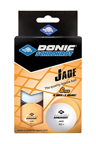 Donic-Schildkröt Palline da Ping Pong Jade, Poly 40+ qualità, Confezione da 6, 3X Bianco/3x Arancione, 608509 Unisex-Adulto