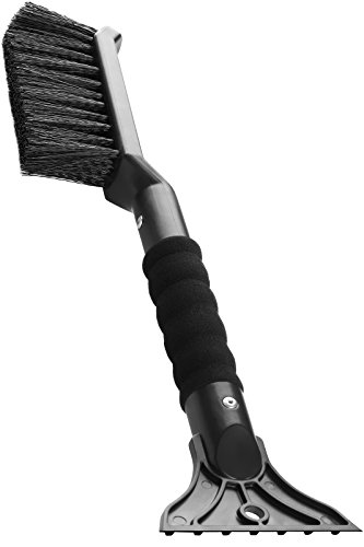 OxGord 2-in-1 Ice Scraper & Snow Brush - No Scratch w/ Soft Bristle Best for Frost Remover & Broom Removal Tool - Auto Windshield Window Cleaning Kit - Heavy Duty Winter Car Accessories w/Grip Handle