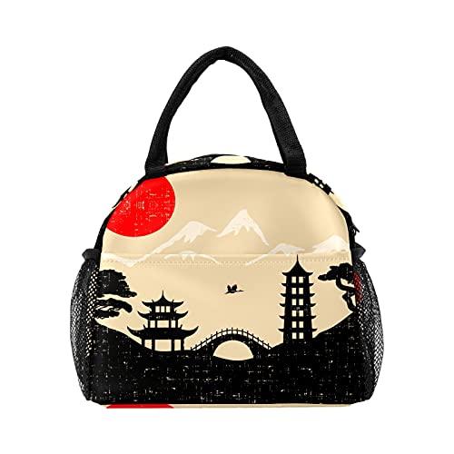 Bolsa de almuerzo retro japonesa para el paisaje del árbol de montaña para las mujeres con aislamiento personalizado reutilizable caja de almuerzo térmica enfriador bolsa para el trabajo Picnic