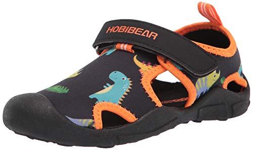 HOBIBEAR Toddler Boys Girls Water Shoes Quick Dry Closed-Toe Aquatic Sport Sandals (Black Orange,7.5 Toddler)