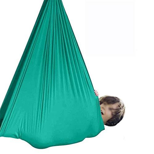 YAWEDA Hamaca for Niños Swing Terapia hasta 200 KG Columpio Interior for Niños Más 3 años Hamaca de Yoga Aérea Ajustable Columpios Infantiles (Color : Lake Green, Size : 100x280cm/39x110in)