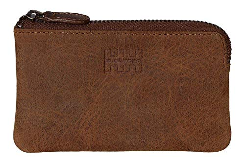 Elbleder Schlüsseletui Leder Braun Vintage auch als Echtleder Mini-Geldbörse Damen Herren RFID Schutz Blocker für Kreditkarten und Bankkarten Schlüsseltasche Schlüsselmäppchen Schlüsselmappe