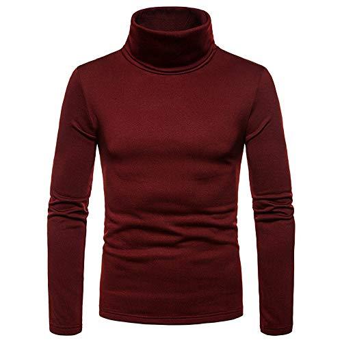 AliExpress Camiseta de manga larga para hombre, talla grande, de terciopelo, cálida, cuello de tortuga, para hombre Rojo Vino Tinto L