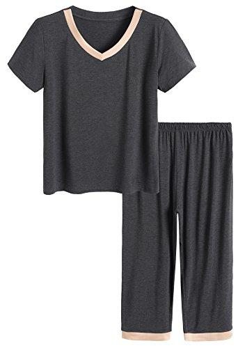 Latuza Women's Sleepwear Tops with Capri Pants Pajama Sets L Dark Gray