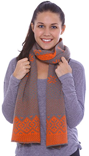 Women's Snowflake Reversible Multi-Colored Knit Long Scarf Shawl, Grey, Orange