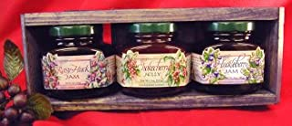 Jam & Jelly 3 different 5oz Jar Handcrafted Gift Crate, this Set is from Huckleberry Haven and features Chokecherry Jelly, Huckleberry Jam and Rasy-Huck Jam