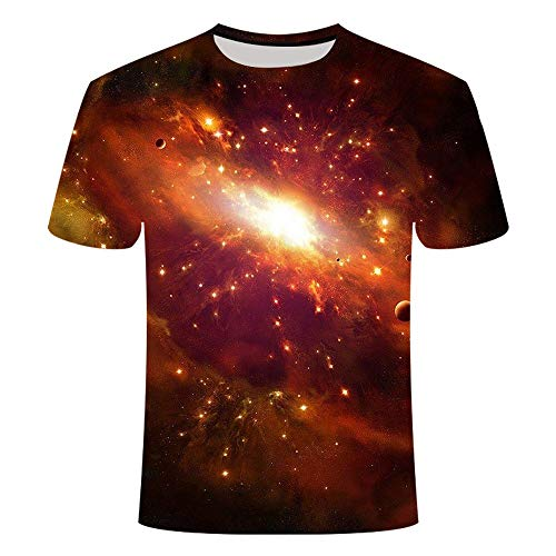 Mens Novelty T-Shirts Whirlpool Galaxy 3D Graphics Print Short Sleeve Funny Summer Quick-Drying Breathable Tees Txk091 5XL