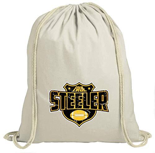 Shirt Happenz True Steelers American Football Pittsburgh Super Bowl Turnbeutel Unisex Gymbag, Größe:37cm x 46 cm, Farbe:Natur (Gymbeutel)