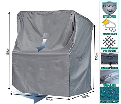 QUICK STAR Schutzhülle Strandkorb XL 145x106x165 cm Strandkorbhülle Abdeckung Grau