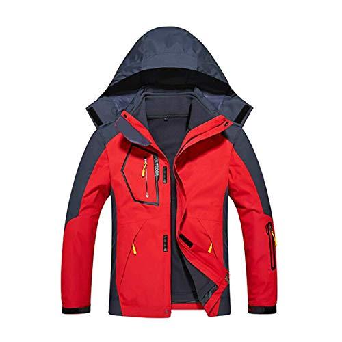 Doubjoy 3-in-1-wasserdichte Herren-Skijacke mit Fleece-Innenfutter Warme Winterjacke Mantel Bergwasserdichte Skijacke Winddichte Regenjacke (A-Oriental Red,5XL)