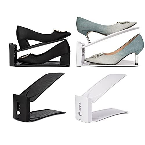 Sekepingo Shoe Slots Organizer,50% Space-Saving Storage Shoe Rack Holder for Closet Organization (2 Pack,Black+Grey)