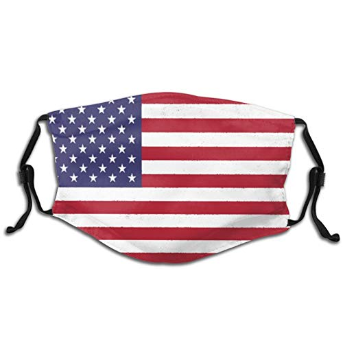 QINGQ American Flag 4th of July Child Dust Ma-sk with Filters Face Protection Mouth Cover Balaclava Bandana Scarf Earloop Adjustable Neck Gaiter 1 PCS Black
