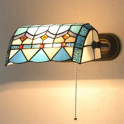 Lámpara de pared Retro Aplique, Luz americano retro pared, rústico estilo Tiffany lámpara de pared lámpara de cabecera del dormitorio con interruptor de la cuerda del tirón, Stained Glass Pantalla, fo