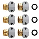 STYDDI Garden Hose Repair Connector Fitting, Aluminum Mender Female and Male Hose End Connector with Zinc Clamp, Fit 5/8-Inch and 3/4-Inch Garden Hose, 3 Sets
