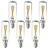 LiteHistory Dimmable T6 led Bulb 25W Candelabra led 2700K Clear 200lm 2W e12 T25 led Bulb 6Pack