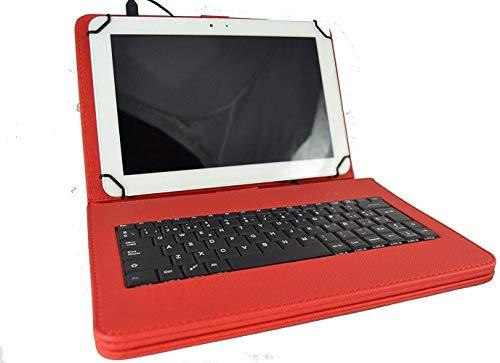 theoutlettablet® Funda con Teclado extraíble en español (Incluye Letra Ñ) para Tablet Samsung Galaxy Tab S4 10,5 / Tab S3 9,7 - Type-C Color Rojo