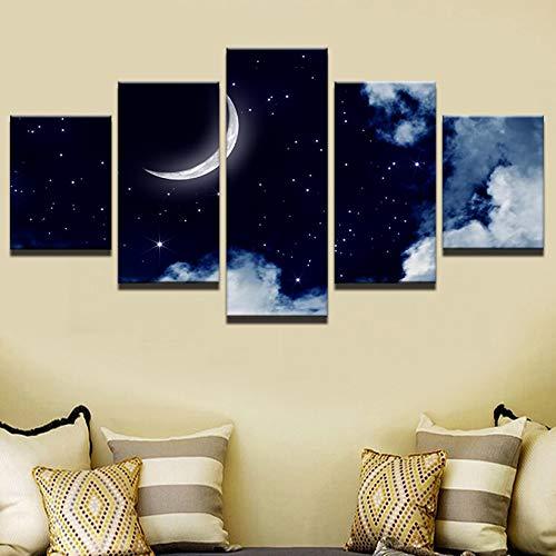 Rahmen Modulare Bilder Vintage Home Decoration Gemälde auf Leinwand 5 Panel Moon Landscape Poster und Drucke an der Wand