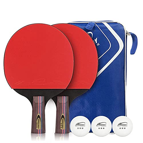 QIXIAOCYB Paddle Ping Pong - 2 Pro Premium Table Tennis Raqueta, Raquetas y 3 pelotas de tenis de mesa, Mejor Raqueta de tenis de mesa profesional con goma de alto rendimiento, Incluye Bolsa de Racket