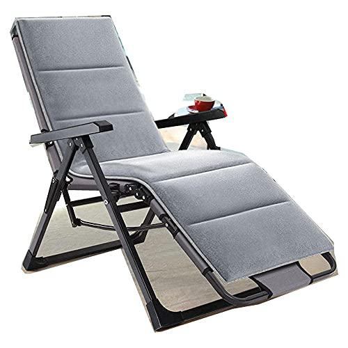 FVGBHN Silla reclinable plegable de gravedad cero, silla de ocio al aire libre, cómoda para relajarse, silla de descanso, sillón reclinable de 150 kg, color gris y almohadilla de algodón
