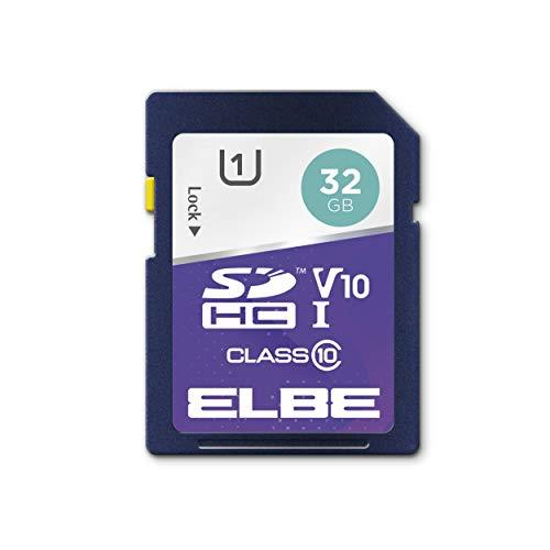 Elbe Tarjeta de Memoria SDHC de 32 GB (hasta 100 MB/s, Class 10, U1, V10, Video Full HD 1080 p y fotografía Digital)