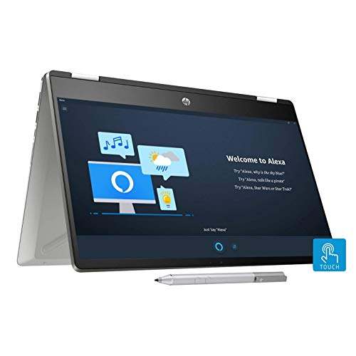 HP Pavilion x360 Core i3 10th Gen 14-inch HD Touchscreen 2-in-1 Alexa Enabled Laptop (4GB/256GB SSD/Windows 10/MS Office/Inking Pen/Natural Silver/1.59 kg), 14-dh1006TU
