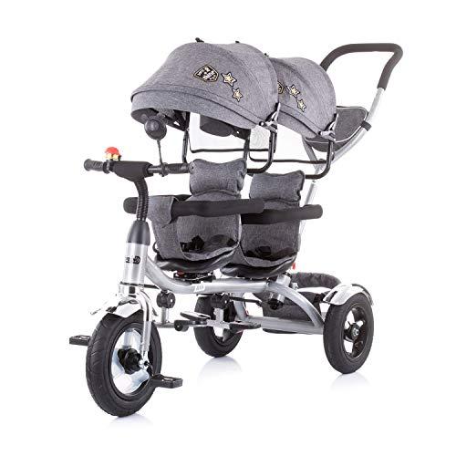 Chipolino Tricycle Dreirad 2Play Zwei Kinder bis 50 kg Luftreifen Lenkstange , Farbe:grau