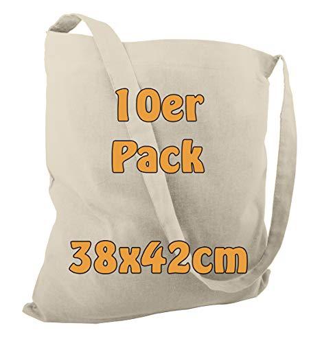 Katoenen tas jute tas schoudertas strandtas om te beschilderen of boodschappen onbedrukt met een lange hengsel natuur 38 x 42 cm 10 stuks