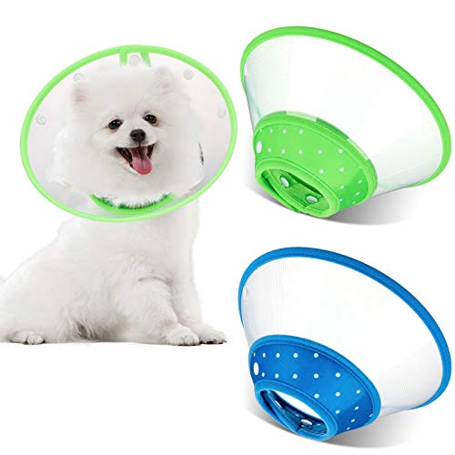 2 Pieces Pet Plastic Clear Cone Cats Recovery Cone...