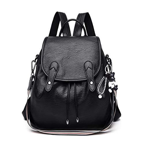 BUKESIYI Damen Tasche Rucksack Handtasche Frauen backpack Klein Anti Diebstahl Schulrucksack Laptop Weekender PU Leder CCDE78105 Schwarz
