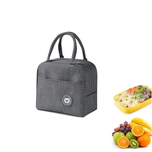 Youkii - Cesta isotérmica para el almuerzo portátil con aislamiento para niños/mujeres/hombres (estilo de oso gris, 23 x 21 x 13 cm)