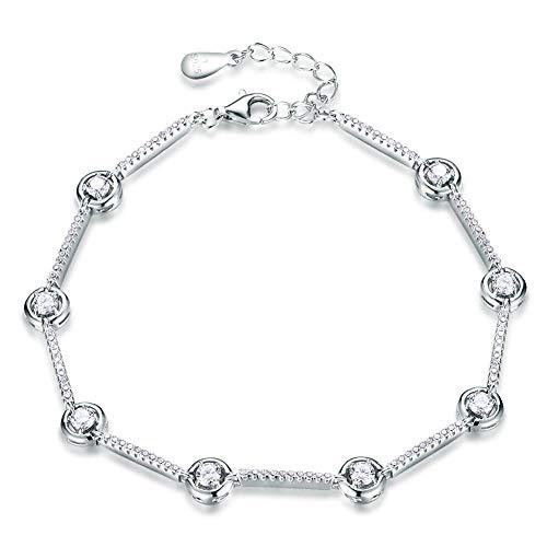 Bracelet En Argent Femme 925,Bracelet En Argent Femme 925,S925 Silver Fashion Bracelet Polyvalent Petite Marqueterie De Style Créatif Frais Zircon Bracelet Réglable Bracelet Tempérament Simple Vêt