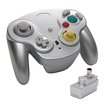 Veanic 2.4G Wireless Gamecube Controller Gamepad Gaming Joystick with Receiver for Nintendo Gamecube,Compatible with Wii  Silver