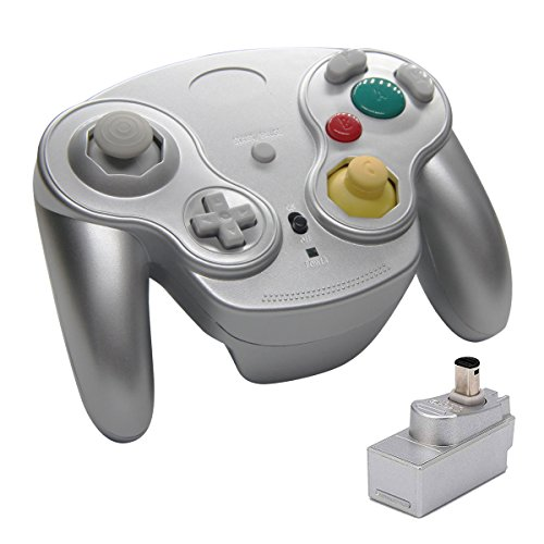 Veanic 2.4G Wireless Gamecube Controller Gamepad Gaming Joystick with Receiver for Nintendo Gamecube,Compatible with Wii (Silver)