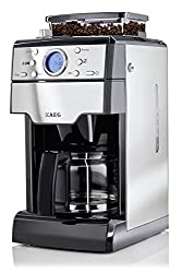 AEG KAM 300 coffee maker (Integrated grinder, 9 grind settings, timer, aroma function, 1,25 l, coffee powder or coffee beans, safety shutdown, stainless steel / black)