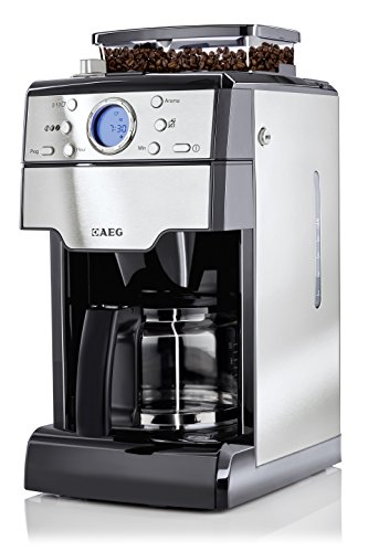 AEG KAM 300 Kaffeemaschine (Integrierte Kaffeemühle, 9 Mahlgradeinstellungen, Timer, Aroma-Funktion, 1,25 l, Kaffeepulver oder Kaffeebohnen, Sicherheitsabschaltung, Edelstahl/schwarz)