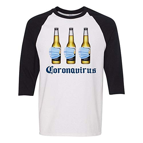 Beer Mask Virus Funny Beer Drinking Three-Quarter Raglan Sleeve Baseball Shirt Unisex Medium White/Black