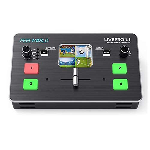 Feelworld LIVEPRO L1 Mini Switcher Multi-formato Video Mixer 4 x ingressi HDMI multi produzione di telecamere in tempo reale live streaming