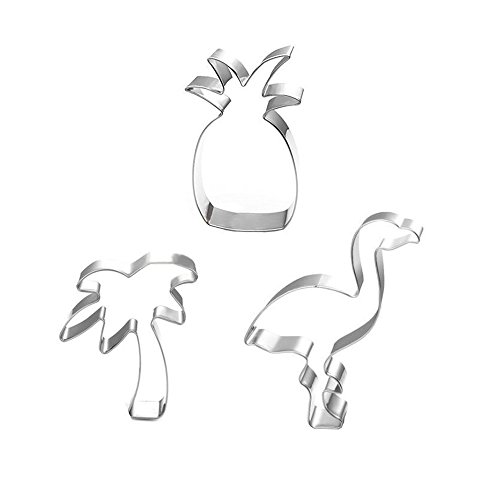 XYBAGS Tropical Cookie Cutter Set - 3 Piece - Pineapple, Flamingo, Palm Tree, Cookie Cutters Molds for Summer or Beach Theme Parties Supplies