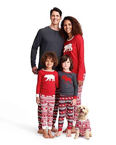 Hatley Little Blue House by Damen Bear & Moose Family Pyjamas Zweiteiliger Schlafanzug, Rot (Women's Jersey Pyjama Leggings-Bear Fair Isle 600), X-Small
