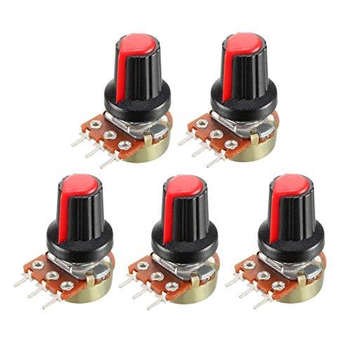 Potenciómetro 10 unids/potenciómetro de película de carbono wh148 15 mm 3pin + interruptor de giro rojo Kit de tapa B1K 2K 5K 10K 20K 50k 1M para módulo de resistencia, lineal,