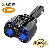 Car Charger, Otium 150W 2-Socket Cigarette Lighter Splitter QC 3.0 Dual USB...
